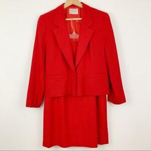 Pendleton Wool Blazer Skirt Suit Set 8p 10p Red Holiday Christmas Cherry Power