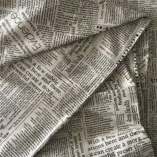 50x150cm Cotton Linen Zakka Fabric DIY Home Deco Pillow English Newspaper 7291 B