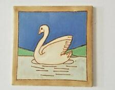 Antique Decorative Tile Trivet With Swan