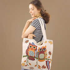 Extra Large Tapestry Owls Soft Shopping Tote Calico Beach Nappy Bag Zip-Up Cream