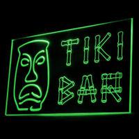 170032 Tiki Bar Bamboo Display Tent Mobile Party Mask Beach LED Light Sign
