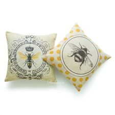 Modern Vintage French Queen Bee Yellow Throw Pillow Case Cushion Cover Set Sofa