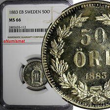 Sweden Oscar Ii Silver 1883 Eb 50 Ore Ngc Ms66 Gem Coin Better Date Km# 740