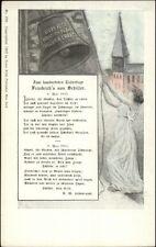 Woman Ringing Bell Latin & German - US American Patriotic 1905 Franz Huld PC