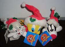"Warner Brothers Lot Of Three Tweety Bugs & Sylvester 7"" Christmas Plush Beanies"