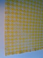 Vintage Yellow White Gingham  77 X 56 Tablecloth Picnic Country Farmhouse