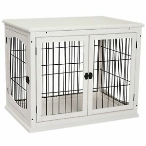 Pet Cage Small Dog/Puppy Kennel Spacious Wooden Crate House Double Doors White