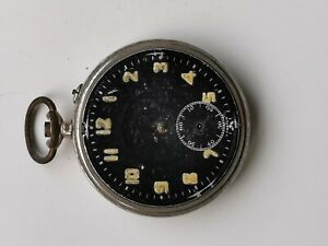 VINTAGE PIN-SET MANUAL WIND BLACK DIAL POCKET WATCH FOR PARTS SPARES OR REPAIRS