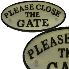 Heavy Please Close the gate Sign Plaque, Cast Iron Vintage Repro Memorabilia New