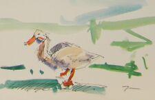 JOSE TRUJILLO ORIGINAL Watercolor Painting Expressionist Duck CONTEMPORARY ART