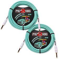"""2-Pack Pig Hog PCH20SG """"Seafoam Green"""" Vintage Instrument Cable, 20ft"""