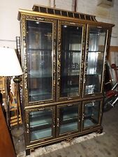 Pulaski Furniture Large Asian Pagoda Glass Lighted China Cabinet or Display Case