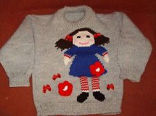 JEMIMA  JUMPER AND MATCHING HAT NEW SIZE 3-4  HAND KNITTED NEW