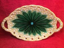 Beautiful Antique German Majolica Lily of the Valley Platter c1912, gm406