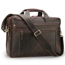"""Mens Leather 17"""" Laptop Briefcase Luggage Messenger Shoulder Bag Travel Satchel"""