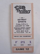 TAMPA BAY THRILLER vs DETROIT SPIRITS 1986 CBA TICKET STUB basketball