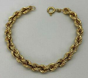 "18ct Gold Hallmarked 8"" Semi Hollow Rope Bracelet.  Goldmine Jewellers."