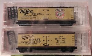 N SCALE: 40' DOUBLE-SHEATHED WOOD REEFER-MILLER BEER 2-PACK - MTL 04-23