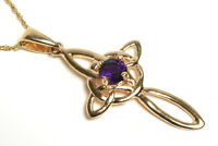 9ct Gold Amethyst Celtic Cross Pendant and Chain Necklace Gift boxed Made in UK