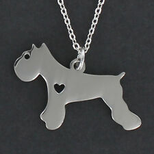 Schnauzer Dog With Open Heart Necklace - Large Stainless Steel Charm Pet NEW