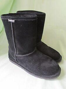 "Women's Bearpaw Suede Leather Black 10"" Short Boots Wool Lining Size 9/10 Emma"