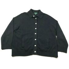 Ralph Lauren LRL Womens Plus 3X Cotton Black Button Front Cardigan Sweater
