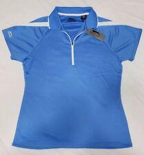 NEW Slazenger Womens Medium Golf Polo 1/4 Zip Shirt Ladies Blue White Accents
