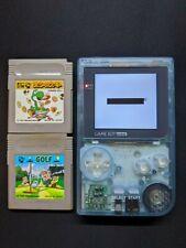 New listing Backlit Custom Clear Blue Gameboy Pocket Ips Screen + Golf, Yoshi's Cookie (J)!