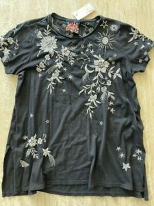 Johnny Was MIA TUNIC BLACK SHORT SLEEVE Knit Tunic White FLUT Shirt Floral L NEW
