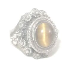 Tigers Eye Poison Ring Sterling Silver Women Boho Ring Size 7.2 Adjustabl Mexico