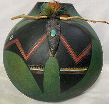 Robert Rivera New Mexico ~ Fetish Bear Gourd Turquoise/Arrowhead Artist Signed