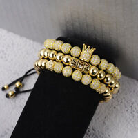 Luxury Men's Micro Pave CZ Ball Crown Braided Adjustable Bracelets Jewelry Gift