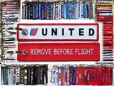 Keyring UNITED AIRLINES - TULIP LOGO - Remove Before Flight tag keychain