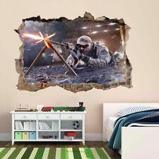 Francotirador Soldado Ejército Militar Guerra 3D Pared Adhesivo Mural Calcomanía Cuarto de Niños Chicos CP61