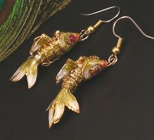 Cloisonne' Fish Earrings Gold Red Blue White Cute & Wiggly Hypoallergenic
