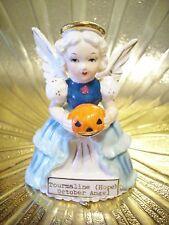 Vintage Halloween October Birthday Angel Girl w/ Pumpkin Figurine MINT GORGEOUS!