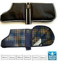 ANIMATE WATERPROOF PADDED DOG WINTER COAT - BLACK or CAMEL WATCH TARTAN