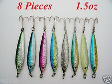 8 Pieces 1.5 oz Mega Live bait Metal Jigs 8 Colors With Treble Hook