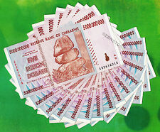 5 Billion Zimbabwe Dollars x 15 Banknotes AB 2008 Currency Paper Money 15PCS XF+