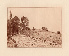 "1892 ALFRED SISLEY Etching ""Western France Landscape"" Framed LIMITED TO 50 COA"