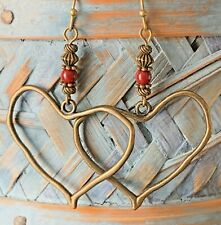 Czech Bead Dangle Earrings. Love. Bronze Tone Heart and Red Picasso