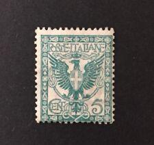 francobollo regno d'italia 1901 Floreale 5 Verde