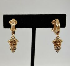 VERSACE GOLD TONE MEDUSA THEME RHINESTONE DETAIL CLIP ON EARRINGS