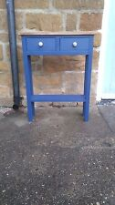 H75 x W60 x D20cm BESPOKE CONSOLE HALL BEDROOM TABLE 2 DRAWERS UNION JACK BLUE