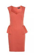 New Elegant Pencil Dress 12 Pink Coral Peplum Cap Sleeve Pin Up Rockabilly Xmas