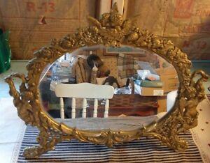 Vintage Brass Cherub Motif Oval Table Mirror NB&IW (National Brass& Iron Works)