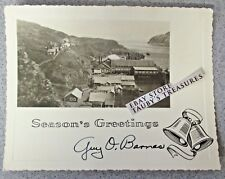Vintage CORDOVA ALASKA PHOTO CHRISTMAS GREETING CARD Town Boat Water Mountain US