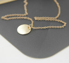 Alloy Simple Round Little Disc Pendant Chain Necklace Women Jewelry Chic