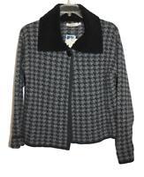 A.Ida Womens Ladies Black Gray Houndstooth Wool Collared Jacket Sz LRG NWT