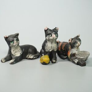(3) Vintage Cast Iron Cat Figurines Paperweights Hand Painted